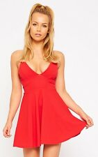 PrettyLittleThing Womens Ladies Luccie Red Crepe Summer Skater Sleeveless Dress