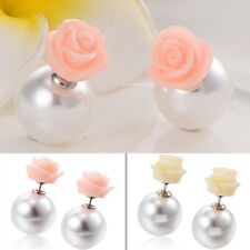 1 Pair Korean Jewelry Charm Silver Plated Shiny Pearl Stud Earrings