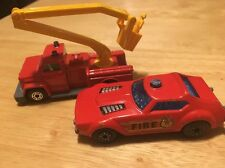 2 Vintage Matchbox Cars - SNORKEL FIRE ENGINE TRUCK # 13 AND FIRE CHIEF #64