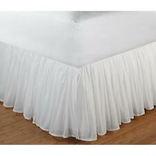"""Beautiful White Romantic Ruffled 18"""" Drop Cotton Voile Bed Skirt Bedskirt"""
