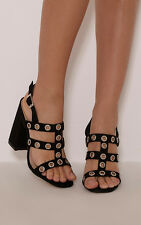 PrettyLittleThing Womens Ray Black Faux Suede Eyelet Detail Heeled Sandals