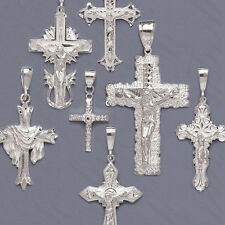 Solid Sterling Silver Crucifix Pendant-Diamond Cut Cross Pendant-Silver Cross