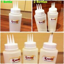12 OZ CLEAR PLASTIC SQUEEZE BOTTLE 3 HOLE LID KETCHUP SAUCE MUSTARD DISPENSER