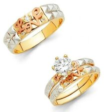 14k Solid Tri-color Gold Trio Love Wedding Band Bridal Solitaire Engagement Ring