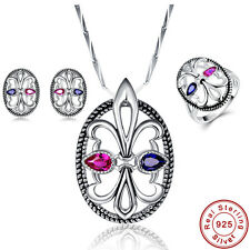 Free Box Ruby & Sapphire Ring+Pendant+Earrings 925 Sterling Silver Jewelry Sets