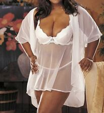 Shirley of Hollywood X3175 Plus Size Scalloped Embroidery Sheer Net Babydoll