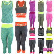 LADIES MARL WORKOUT GYM SUIT CROP TOP VEST CAPRI LEGGINGS 2 PC WOMEN CO ORD SET