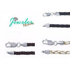 """Leather Necklace Braided Sterling Silver Clasp Black Brown Pearl White 16 18 20"""""""
