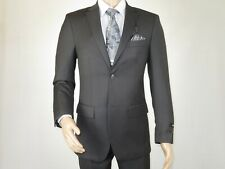 Mens Two Button Suit  ANGELO ROSSI Cord Stripe Classic Dressy 391 Charcoal Gray
