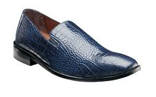 Stacy adams Mens shoes Galindo Blue Crocodile print leather loafer 24996-400 NEW