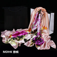 Women's Fashion Silk Satin Floral Long Scarf Wrap Shawl Beach Silk Scarves New