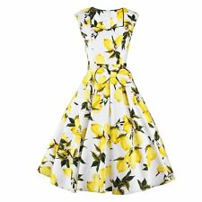 Gorgeous Womens Ladies Vintage Lemon Printing Housewife Pinup Summer Swing Dress