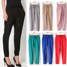 New Fashion Women Casual Chiffon Harem Pants Comfy Elastic Waist Long Trousers