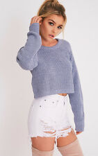PrettyLittleThing Womens Jumper Ladies Oceana Blue Mixed Knit Cropped Sweater