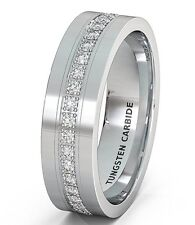 Mens Wedding Band 8mm White Tungsten Carbide Ring Stacked CZ Polished Flat Edge