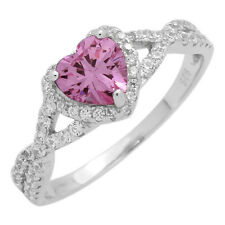 925 Sterling Silver Rose Pink CZ Micropave Infinity Heart Ring