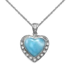 Larimar Heart Pendant with Cubic Zirconia Sterling Silver, Rope Chain Included