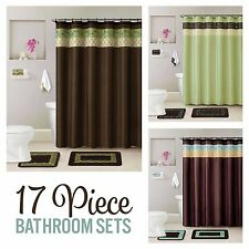 Bathroom 17 Piece Set Bath Contour Mat Rugs, Shower Curtain, Rings, Hand Towels
