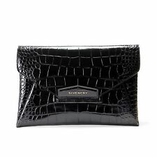 $1600 authentic GIVENCHY Black Croc Antigona Envelope Clutch Bag Medium Large