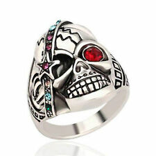 Skull Ring Biker Rock Punk Gothic Pirate Crystal 316L Stainless Steel Size 7-10