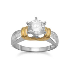 Two-Tone Round and Baguette CZ Solitaire Ring Gold-plated Sterling Silver