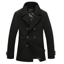 Mens Winter Wool Blend Peacoat Double Breasted Reefer Coat Jacket Trench Coat