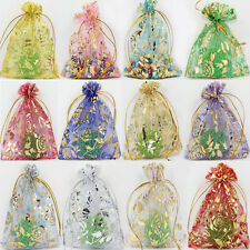 50Pcs Rose&Gold Organza Wedding Favor Party Gift Bag Candy Bags Pouches 3Sizes