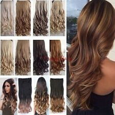 Real Natural as human one piece full head clip in on hair extensions curly  H831