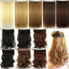 Real as Human Hair 3/4 Full Head Clips in Hair Extensions Straight Curly Wavy T4