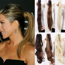 Real Straight Curly Jaw Clip in Hair Extension Claw on Ponytail as Natural  H78