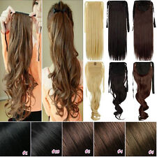 Tail Hair Extension Clip In Ponytail Pony Wrap On Hair Piece Straight Wavy H723