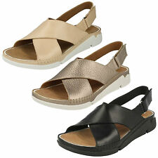 LADIES CLARKS CROSSOVER LEATHER RIPTAPE OPEN TOE SUMMER SANDALS TRI ALEXIA