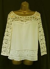 New ex Marks and Spencer lace cream beige top 8 10 12 14 16 18 20