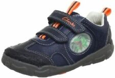 Clarks Boys Stompojaw Infants Navy Leather Riptape Casual Trainers