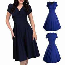 Elegant Women Vintage Style Flared Pleated Swing Retro Pinup Evening Party Dress