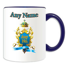 Personalised Gift Blue and Golden Mug Mug Money Box Cup Sword Olive Branch Tea