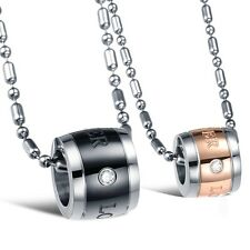 His Hers Stainless Steel Eternal Love Pendant Matching Set Necklace for Couples