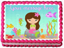 MERMAID girl Image Edible Cake topper Design