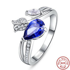 Tanzanite & White Topaz 100% S925 Sterling Gemstones Silver Rings Size 6 7 8 9