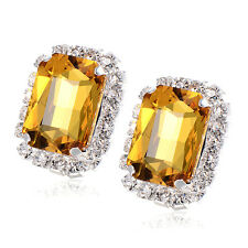 Red ruby Rhinestone Stud earrings Yellow gold filled Authentic wholesale earings