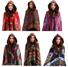 Winter Womens Lady Vintage Hooded Cloak Cape Bohemian Fringed Shawl Scarf Gift