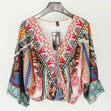 Lady Batwing Bohemia Ethnic Blouse V-neck Floral Print Vintage T-shirt Tee Tops