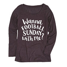 Wanna Football Sunday with Me-ADULT LADIES LONG SLEEVE TEE