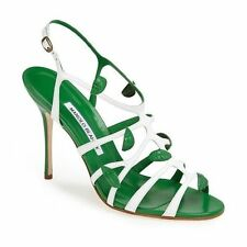 $935 New Manolo Blahnik TWIGA 90 Green White Strappy Sandals Shoes 36.5 40.5