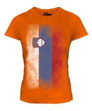 SLOVENIA FADED FLAG LADIES T-SHIRT SLOVENIJA SLOVENE SLOVENIAN SHIRT FOOTBALL