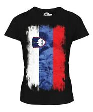 SLOVENIA GRUNGE FLAG LADIES T-SHIRT SLOVENIJA SLOVENE SLOVENIAN SHIRT FOOTBALL