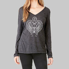Womens Long Sleeve Tops - Shirts, V Neck T Shirt, Scarab Beetle, Bella Flowy