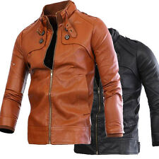 Hot Mens Slim Belt Buckel Stand Collar Leather Medium Jacket Trench Coat Outwear