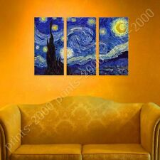 POSTER or STICKER +GIFT Decals Vinyl Starry Night Vincent Van Gogh 3 Panels
