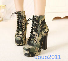 Stylish Women Camouflage Lace up High heel Ankle boots Platform Military Shoes